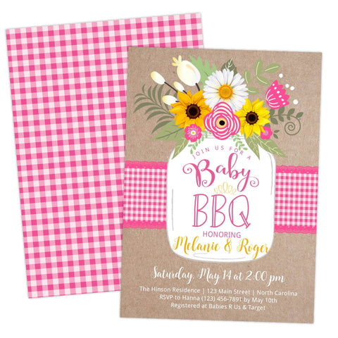 babyq baby shower bbq country pink invitation invite template printable