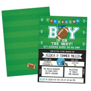 football tailgate baby shower invitation blue