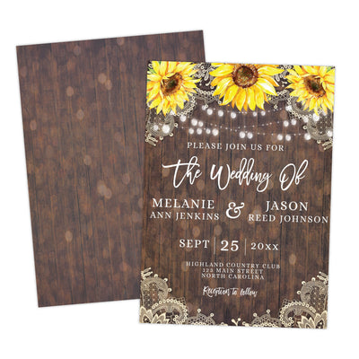 Rustic Lace Sunflower Wedding Invitation