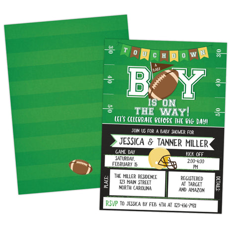 football tailgate baby shower invitation for boy