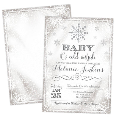 Baby it's cold outside baby shower invitation with snowflakes
