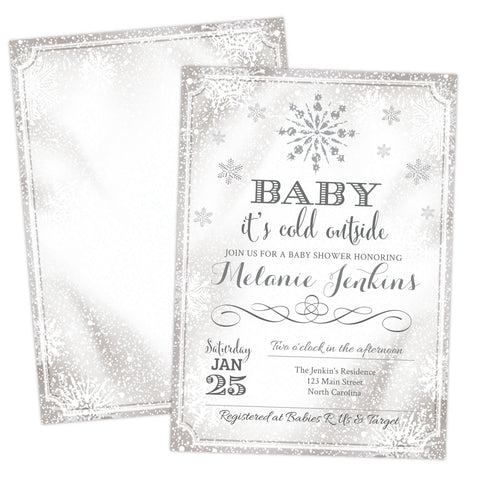 Snowflake Baby It's Cold Outside Silver Baby Shower Invitation - Your Main Event