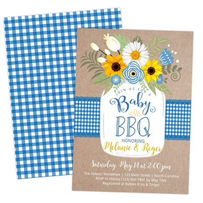 Blue BabyQ BBQ Baby Shower Invitation - Your Main Event