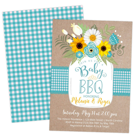 babyq baby shower bbq country aqua invitation invite template printable