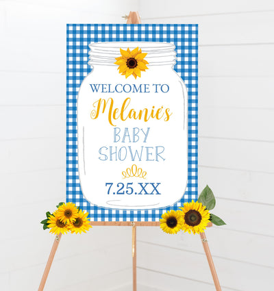 Blue BBQ Baby Shower Welcome Poster Sign Printable