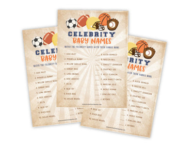 Sports Celebrity Name Baby Shower Game - Your Main Event