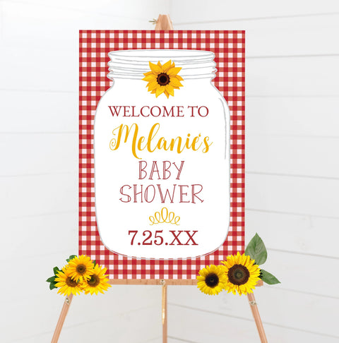red bbq babyq baby shower welcome sign printable sunflower