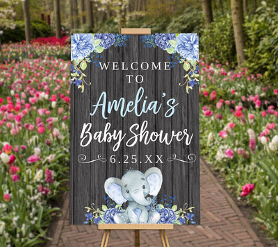 elephant baby shower welcome sign