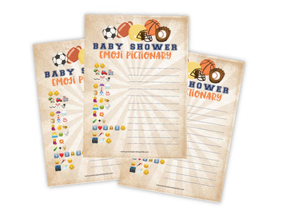 Sports Pictionary Emoji Baby Shower Game - Your Main Event