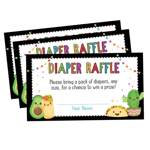 Fiesta Taco Bout A Baby Baby Shower Diaper Raffle Cards - Your Main Event