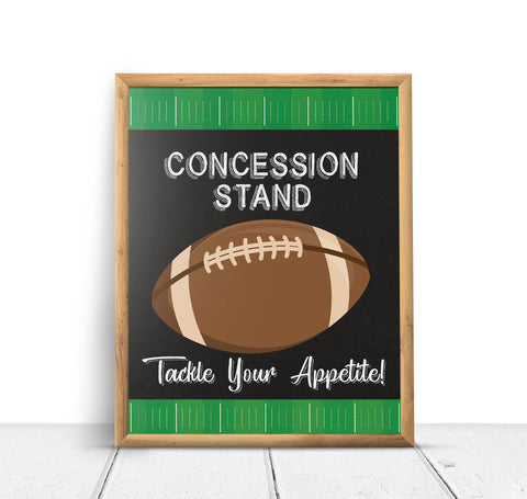 Football Sports Concession Stand Baby Shower Sign Decoration - Your Main Event