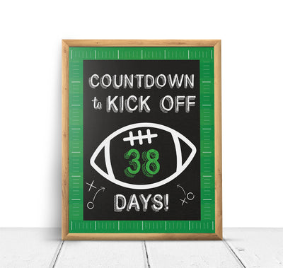 Football Sports Countdown Baby Shower Poster Sign Printable - Your Main Event