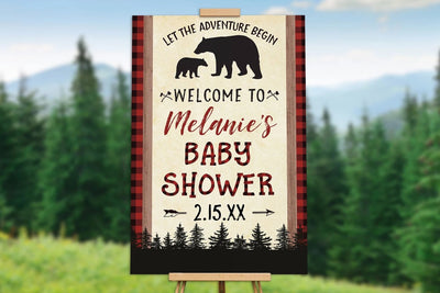 Lumberjack Bear Baby Shower Welcome Poster