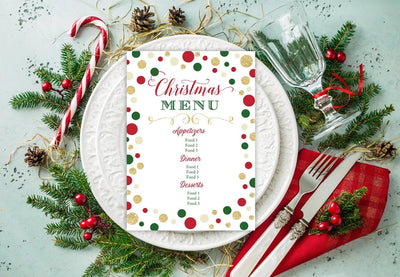 Christmas Party Menu Printable Editable Template - Your Main Event