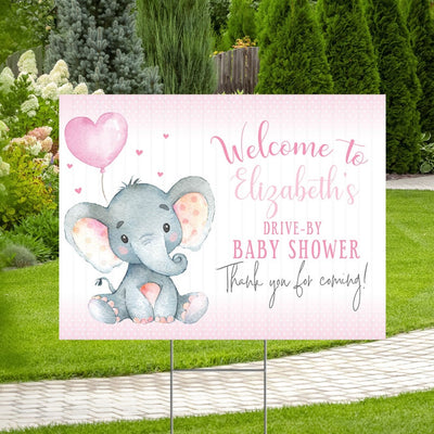 Elephant Pink Baby Shower Yard Sign Welcome Poster Sign Printable - Your Main Event