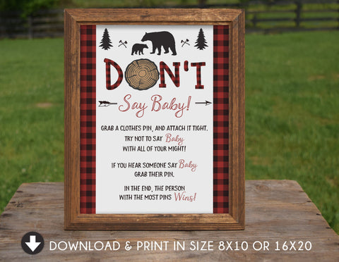 Bear Don't Say Baby Sign Lumberjack Baby Shower Sign Lumberjack Don't Say Baby Sign Lumberjack Baby Shower Games Decorations Sign Poster - Your Main Event
