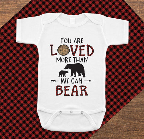 Lumberjack Onesie You Are Loved More Than We Can Bear, Baby Shower Gift - Your Main Event