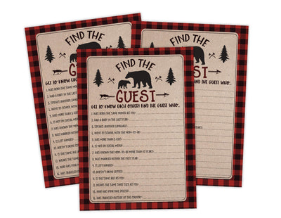 Find The Guest Lumberjack Lumber Jack Baby Shower Game Instant Download, Ideas For Boy Baby Shower - Your Main Event