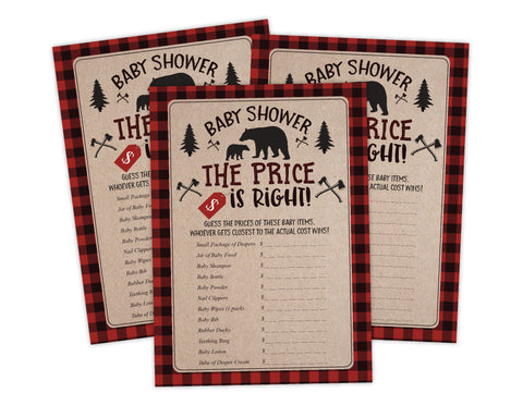 The Price Is Right Lumberjack Lumber Jack Baby Shower Game Instant Download, Ideas For Boy Baby Shower - Your Main Event