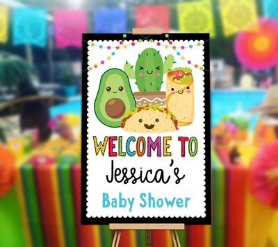 Fiesta Taco Welcome Sign Baby Shower Edit Yourself Editable Poster Digital File, Avacado, Burrito, Cactus - Your Main Event