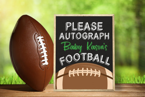 Football Sports Autograph Baby Shower Poster Sign Printable - Your Main Event