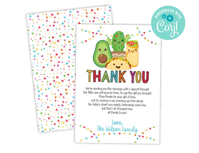 Fiesta Taco Bout A Baby Shower Thank You Card, DIY Instant Download Template - Your Main Event