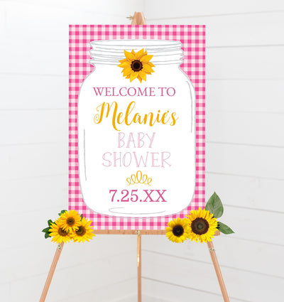 pink bbq babyq baby shower welcome sign printable sunflower