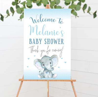 Blue Elephant Baby Shower Welcome Poster Sign Printable - Your Main Event