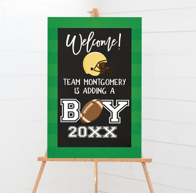 Football Sports Baby Shower Welcome Poster Sign Printable - Your Main Event