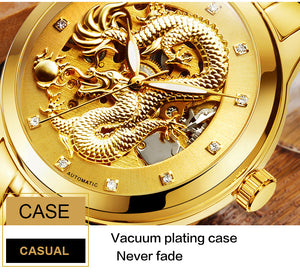Men's Gold Full Stainless Steel Dragon Design Automatic Watch - unique innovation pro