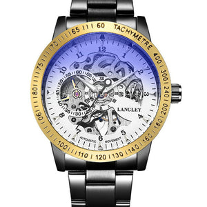 Mens Stainless Steel Automatic Self wind Wristwatch - unique innovation pro