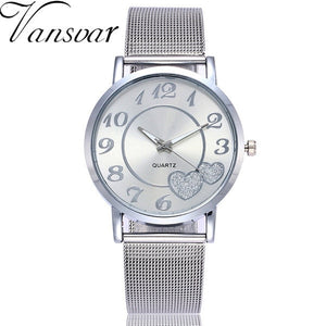 Men Stainless Steel Heart Mesh Watch - unique innovation pro