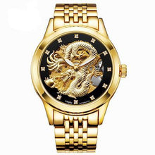 Load image into Gallery viewer, Men's Gold Full Stainless Steel Dragon Design Automatic Watch - unique innovation pro