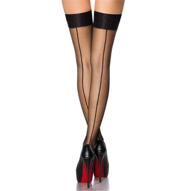 a29574274d5 Hot Patchwork Sexy Lingerie Retro Back ...Line Thigh High Nylon Stockings  Transparent Over Knee Stockings