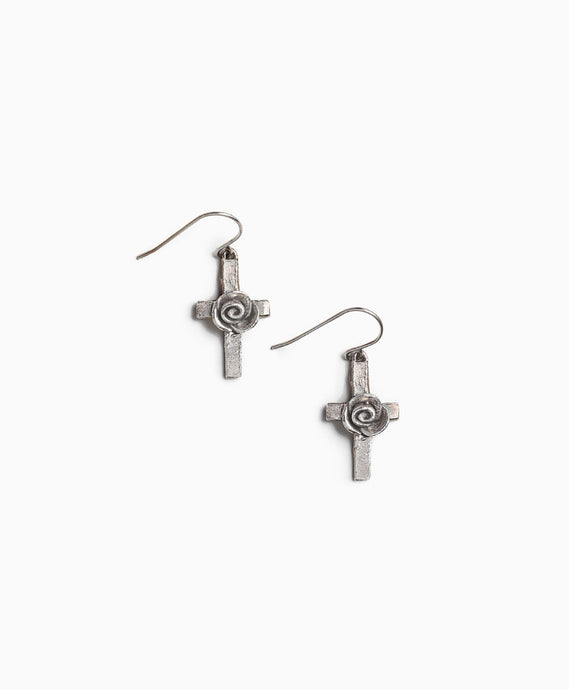 Rosette Cross Earrings