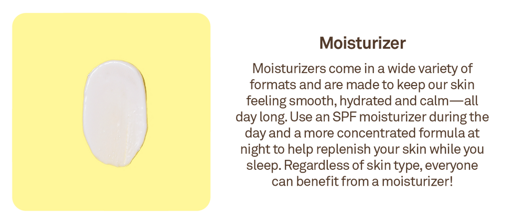 Moisturizer: Moisturizers come in a wide variety of formats and are made to keep our skin feeling smooth, hydrated and calm -- all day long.