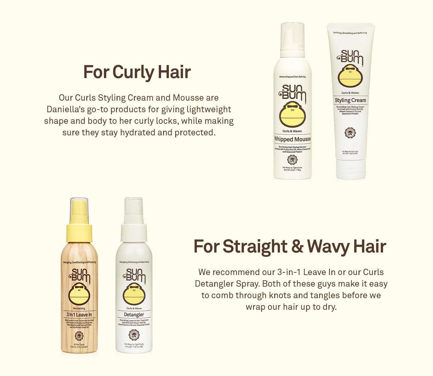 Sun Bum products for curly hair and Sun Bum product for straight/wavy hair