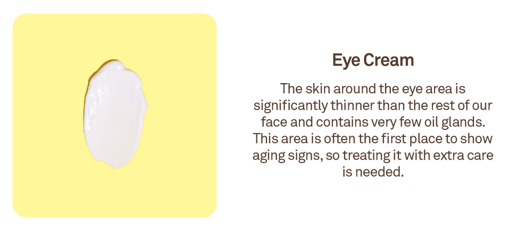 Eye Cream: The skin around the eye area is significantly thinner than the rest of our face and contains very few oil glands
