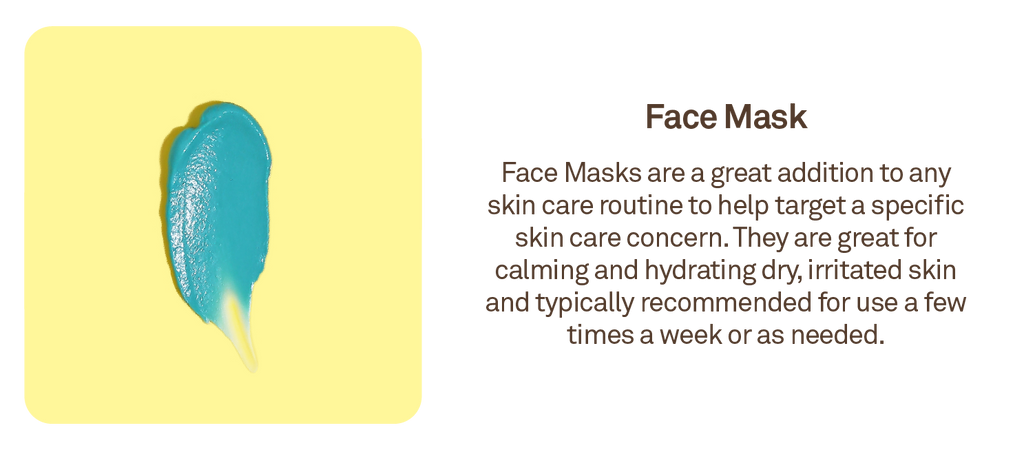 Face Mask: Face Masks are a great addition to any skin care routine to help target a specific skin care concern.