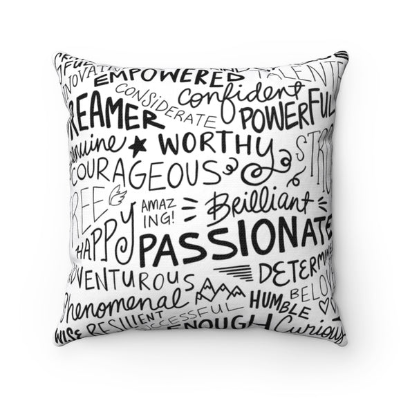 Inspirational Words Square Pillow