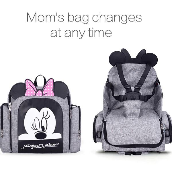 2 in 1 Waterproof Diaper Nappy Bag Backpack and Booster Seat - Maraya's Marketplace