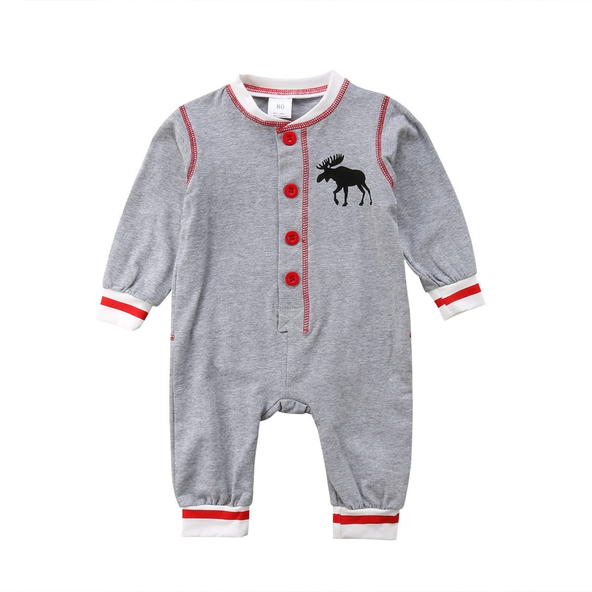 Baby Long Sleeve Romper w/ Moose - Maraya's Marketplace