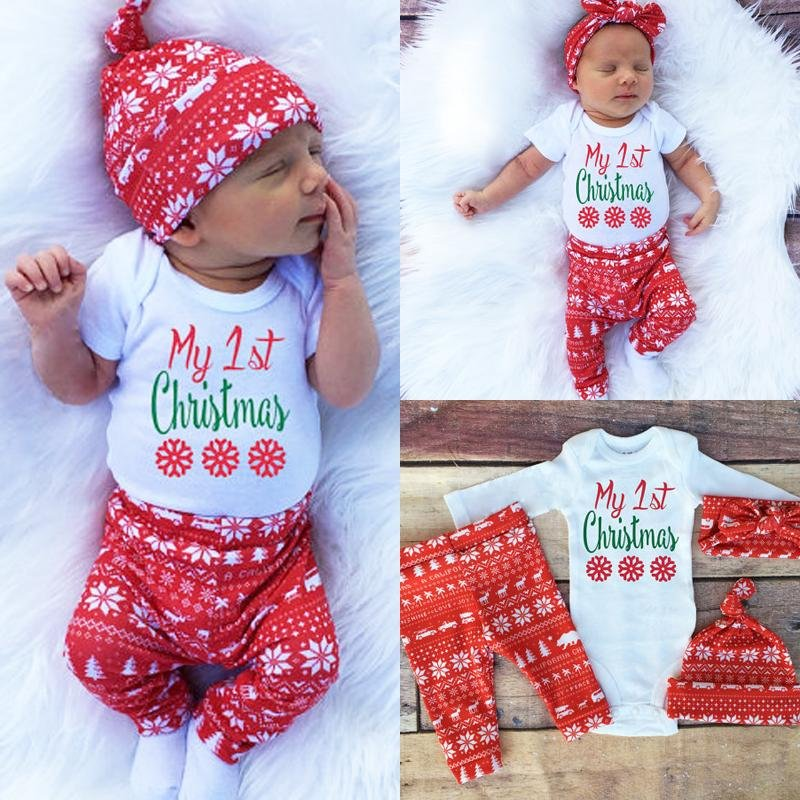 Baby's (3-18M) 1st Christmas Cotton 3pcs Snowflake Set (Romper Pants, Leggings, Hat) - Maraya's Marketplace