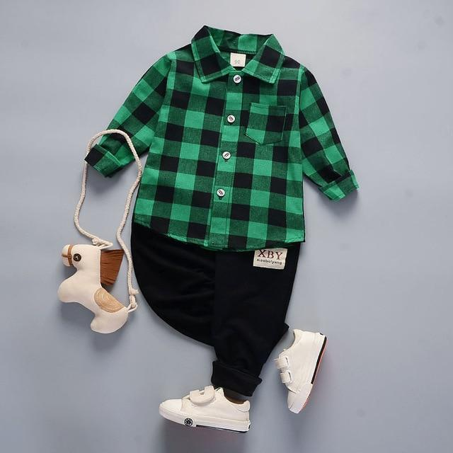Boys' 2Pcs Green/Black Set - Long Sleeves Shirt and Pants - Maraya's Marketplace