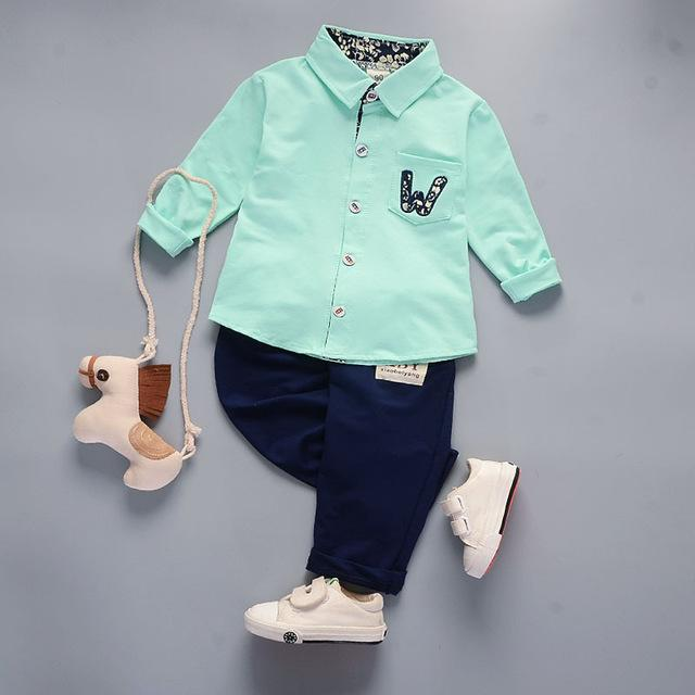 Boys' 2Pcs Green/Navy Blue Set - Long Sleeves Shirt and Pants - Maraya's Marketplace