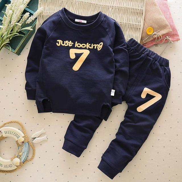 Boys' 2Pcs Navy Blue Set - Long Sleeves Shirt and Pants - Maraya's Marketplace