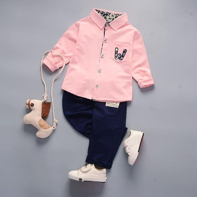 Boys' 2Pcs Pink/Navy Blue Set - Long Sleeves Shirt and Pants - Maraya's Marketplace