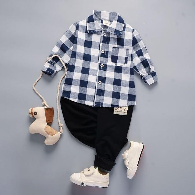 Boys' 2Pcs Plaid/Navy Blue Set - Long Sleeves Shirt and Pants - Maraya's Marketplace