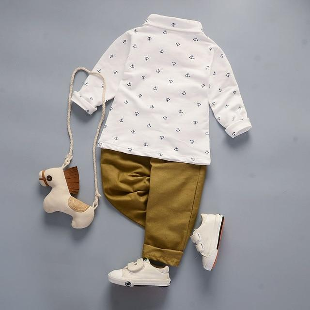 Boys' 2Pcs White/Khaki Set - Long Sleeves Shirt and Pants - Maraya's Marketplace