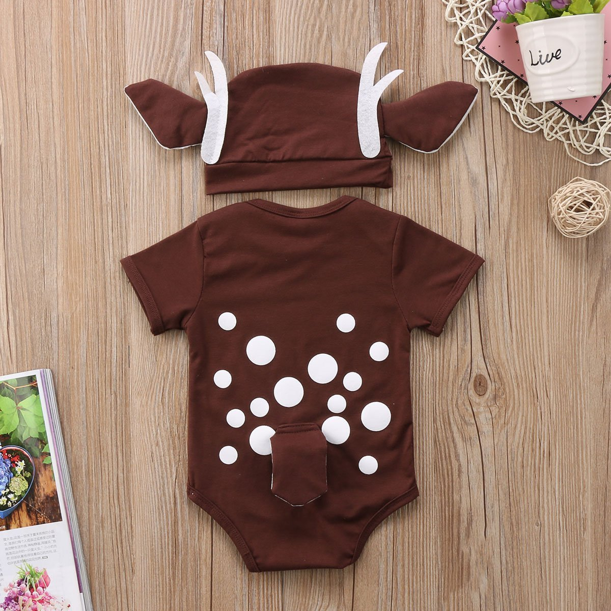 Christmas Baby 2Pcs Set - Deer Romper and Long Ears Hat - Maraya's Marketplace